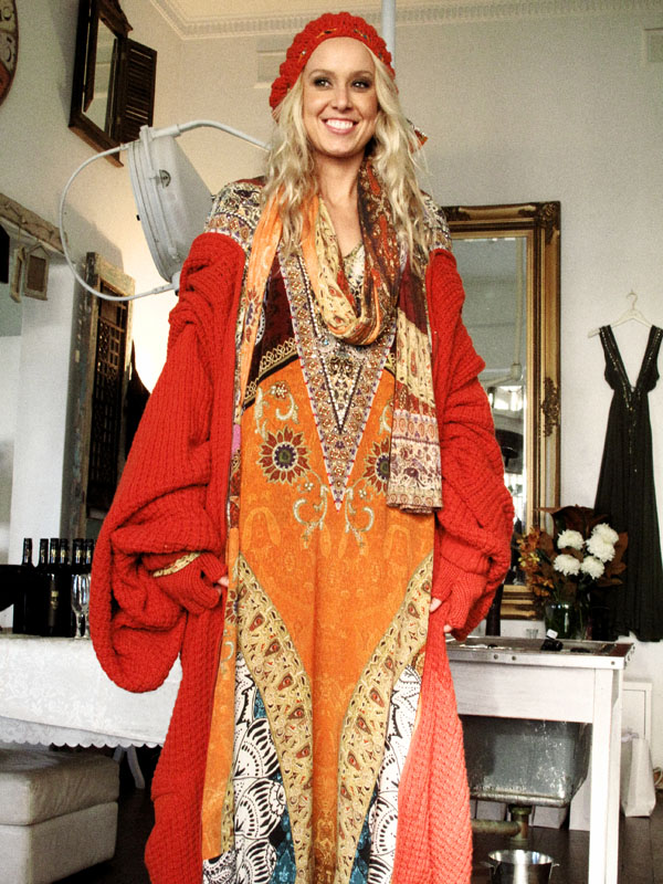 Camilla AW 11 Woodstock Collection, Marakesh Kaftan & Knit Coat, Burnt Orange. J_600Adj_1879