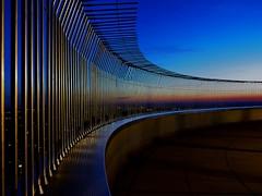 don't jump (werner boehm *) Tags: sunset reflection fence germany munich münchen bayern bavaria tv bars perspective bluehour zaun spiegelung tvtower perspektive gitter dontjump abendrot stäbe wernerboehm blauestundefernsehturmolympiaturmolympic