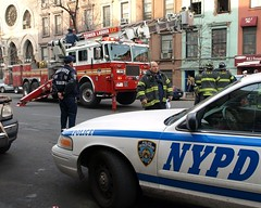 NYPD and FDNY, Harlem, New York City (jag9889) Tags: county city nyc blue ny newyork cars fire cops harlem manhattan police nypd company queens borough trucks ladder fdny 2009 department firefighters lawenforcement finest 117 officers bravest firstresponders newyorkcitypolicedepartment ladder117 116street y2009 jag9889