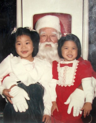 Irene and Christina with Santa - 1986