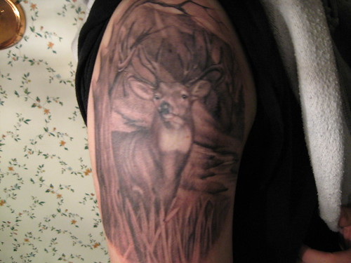 deer tattoo buck woods grass tree mountains river finished perfect