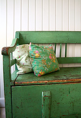"Swedish ""slagbaenk"" (Live Bohemian) Tags: lighting green vintage bench artist market furniture designer antique interior country swedish flea recycling eclectic quirky cushions scandanavian"