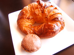 croissant and chocolate macaroon