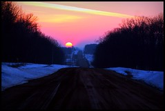 Eyes of a country man (TaySand) Tags: road trees winter sunset sky cloud sun snow color tree ice forest sunrise canon photography rebel xt dawn stream glow dusk country gravel taysand