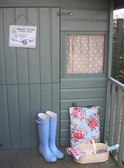 Garden shed! (toriejayne) Tags: wood flowers blue green home floral garden boots gardening shed cream spot gloves hunter wellies enamel cathkidston trowel tinsign trug toriejayne