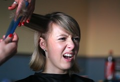 hairdresser's stories 3 : marta (motorynka13) Tags: blue red portrait woman haircut home girl hairdresser warsaw