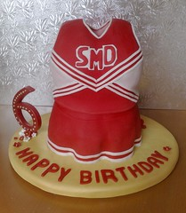 High School Musical, 3D Cheerleader Dress Cake (SmallThingsIced) Tags: birthday red white cake gold candles chocolate vanilla fondant buttercream highschoolmusical cheerleadingoutfit smallthingsiced