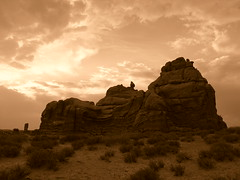 Swirly Sunset in Arches National Park (kathleenb1965) Tags: bw nature sepia landscape photos archesnationalpark discovery potofgold abigfave discoveryphotos