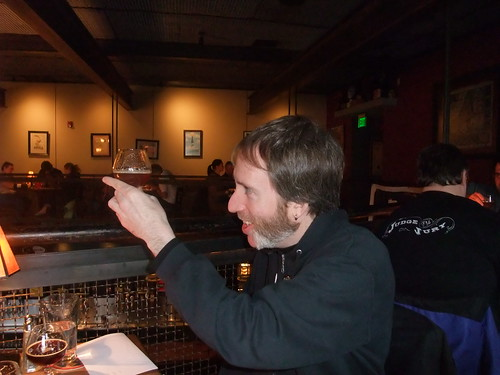 Chris Devlin (aka Beer Retard) geeking out during the Hard Liver judging. Hes such a beer douche:-)