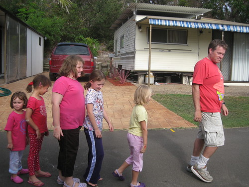 Kevin leading girls to ice cream van