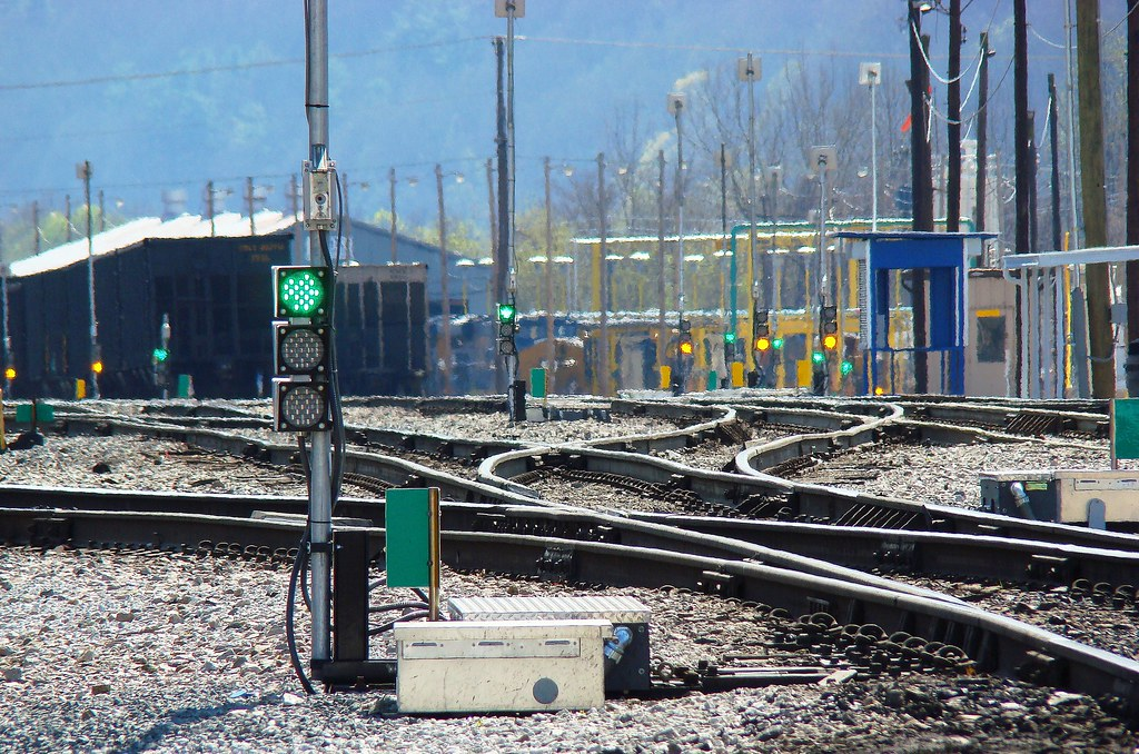 CSX has installed new RF controlled switch machines and LED dwarf signals in the railroad yard at Erwin, Tennessee, April 2009