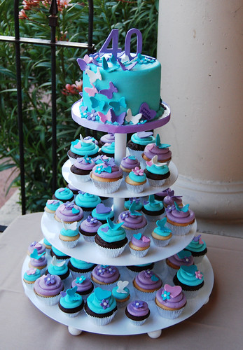 40th birthday purple turquoise and pink butterfly and hearts cupcake tower