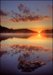 Perthshire Dawn (angus clyne) Tags: trees sun reflection water stone clouds sunrise dawn scotland bravo searchthebest perthshire calm steppingstones loch dunkeld steppingstone flikcr platinumphoto vosplusbellesphotos saariysqualitypictures craiglush lochofcraiglush irememberedtowettherock