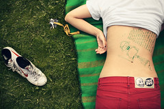 (koinis) Tags: sleeping summer macro girl grass john back shoes drawing sigma story doodle 24mm monday 18 cheap laying redjeans koinberg koinis