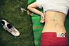 (koinis) Tags: sleeping summer macro girl grass john back shoes drawing sigma story doodle 24mm monday 18 cheap laying redjeans koinberg koinis