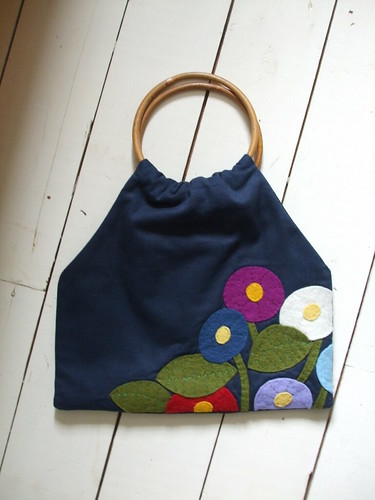 Handmade bag with handsewn wool felt applique