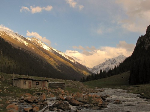 Sunset in the Altyn Arashan Valley