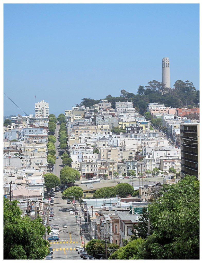 Coit Tower from the bottom of the curvy block on Lombard Street