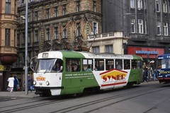 Liberec Tramvaj,  Tatra T3SUCS Tram nr 52 in Syner livery Czech Republic   March 1994 - by sludgegulper