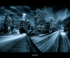 LA, LA (SMGallery (MooreFoto.com)) Tags: california ca longexposure la los nikon downtown angeles fisheye citylights hdr d300 downtownlosangeles photomatix tonemapped 100faves 200faves 5exp 105mm28 300faves bratanesque smgallery nikond300 photomatixpro31