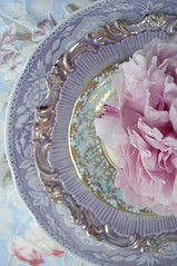 Peony Place Setting (such pretty things) Tags: show china old pink flowers wedding party baby glass floral vintage table gold aqua place antique lavender peony fabric tuesday target vase romantic plates bud chic dishes bridal setting peonies entertaining arranging shabby barkcloth