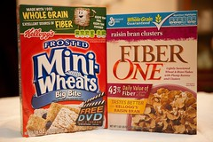 Frosted Mini Wheats and Fiber One raisin bran clusters