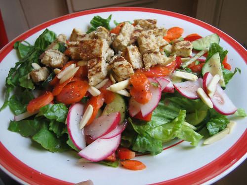 salad with fake chicken patty