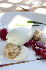 Trailside Strawberries, Picholine Shortcakes, Fromage Blanc Mousse, Basil Gelato, Auberge du Soleil, Napa