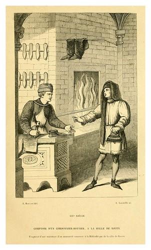 012-Mostrador de un zapatero en el mercado de Rouen-Francia en el siglo XIV-Histoire de la chaussure depuis l'antiquité-1862- Paul Lacroix y Alphonse Duchesne