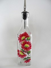 Oil Bottle Olive Oil Bottle Red Daisy Hand Painted (Painting by Elaine) Tags: kitchen glass dispenser painted handpainted oliveoil oilandvinegar oilbottle paintedbottle oliveoilbottle oildispenser paintingbyelaine