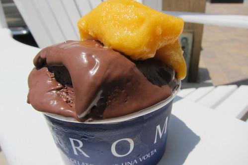 Grom Gelateria: Chocolate Gelato + Apricot Sorbet