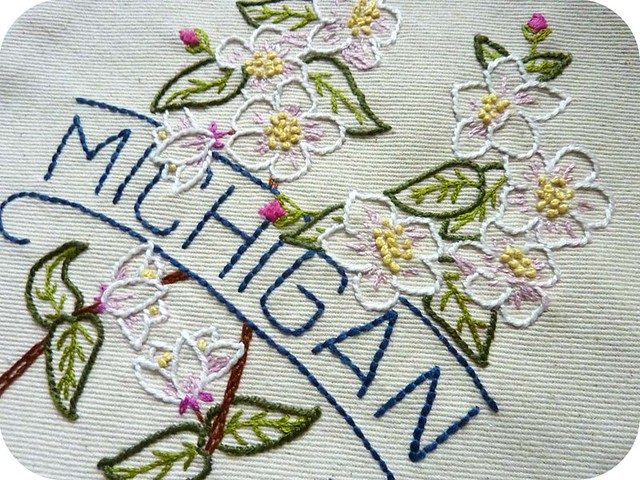 Michigan embroidery, detail