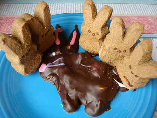 Peeps do not like our mangly easter bunny