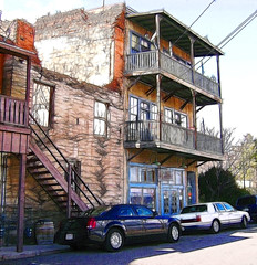 Rickdeloris Candy & Popcorn Company Building in Jerome, Arizona (Scandblue) Tags: wood old arizona brick architecture stairs rural photoshop vintage town balcony manipulation jerome americanwest miningtown oldwest verdevalley postprocessing fractalius