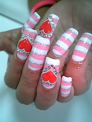 Stripe and Heart nails (Pinky Anela) Tags: pink white tokyo heart stripe nails nailart japanesenails