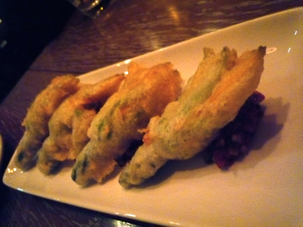 Tempura of zucchini flowers, goats cheese, Provencal relish