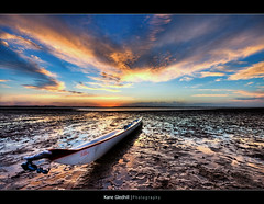 Where did the water go? ([ Kane ]) Tags: blue sea sun water clouds mud canoe explore qld kane hdr gledhill kanegledhill vosplusbellesphotos humanhabits kanegledhillphotography