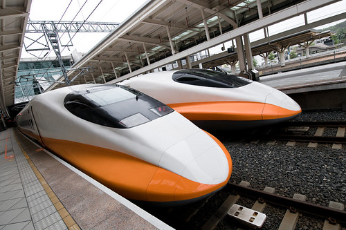 High-speed rail trains in Taiwan. They certainly look fast. Photo by loudtiger via Flickr.