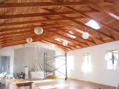 Douglas fir ceiling, sanded