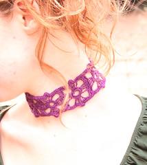 purple choker (Snowfaerie) Tags: ladies women purple crocheted choker necklacechildrengirlgirlshandmade