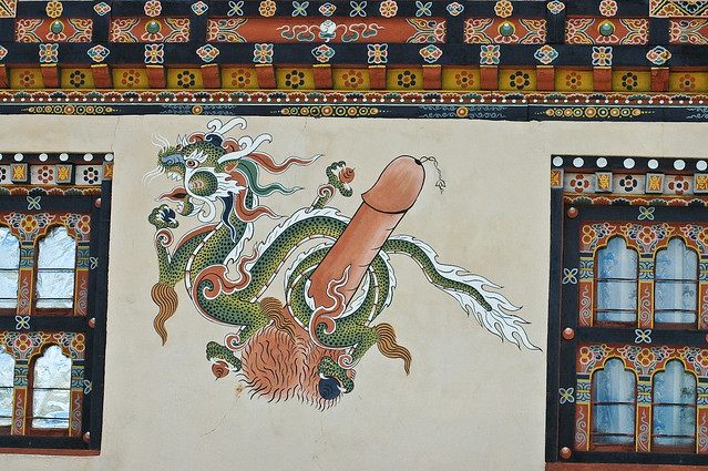 Traditional Bhutanese penis art painted on a house