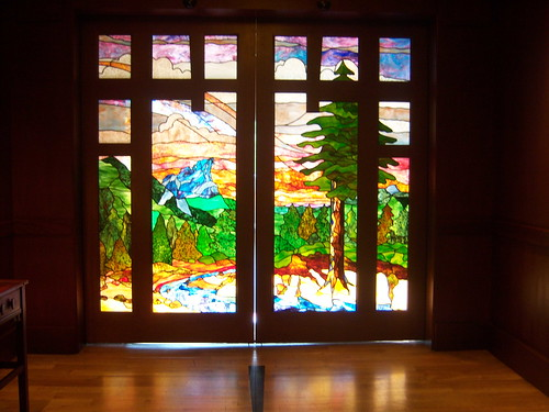 Stained glass doors at the entrance of Disney's Grand Californian Hotel