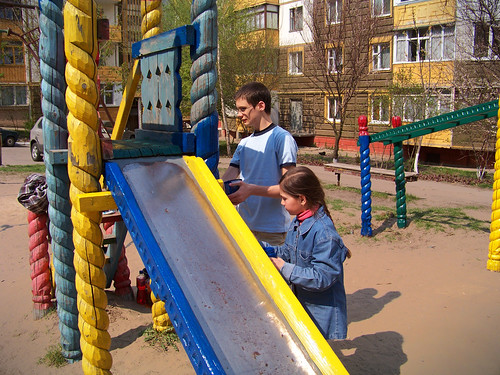 Dominic and Maryna painting the slide