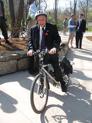 Mayor Darwin Hindman rides his bicycle most everywhere he goes