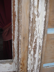 stripping paint from windowframe - 1