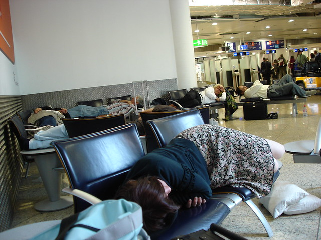 Napping at Frankfurt Airport