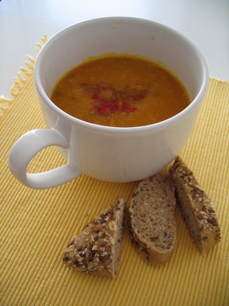 Dal & Pumpkin Soup with Spicy Onion Topping