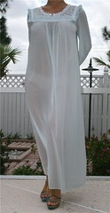 Gaymode Pale Blue Nylon & Eyelet Floral Lace Nightgown Full Length Front 1 (mondas66) Tags: floral ruffles lace nightgown eyelet frilly nightdress ruffle frills frill ruffled jcpenney nightie frilled frilling frillings gaymode befrilled