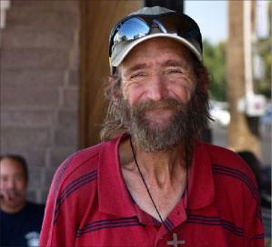 Homeless man lends a hand