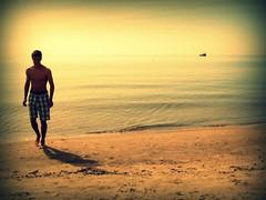 summer's so close (Miss Merie Hurst) Tags: boy shadow summer lake man beach swim boat sand warm wave trunks